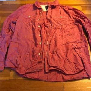 American Eagle Men's Red Button Up